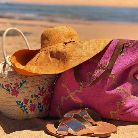 Pink gold Rug Beachbag