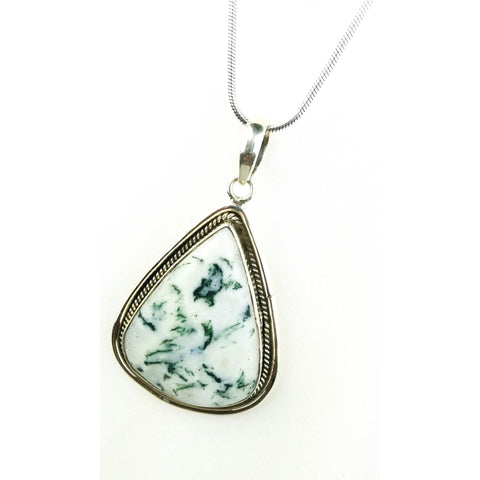Triangular Tree Agate Stone Silver Pendant  - Melange Chic