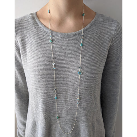 Sterling Silver Long Station  Necklace