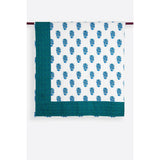 Zubeidah Tulip White and Seagreen Blockprint Reversible Cotton Quilt  - Melange Chic - 1