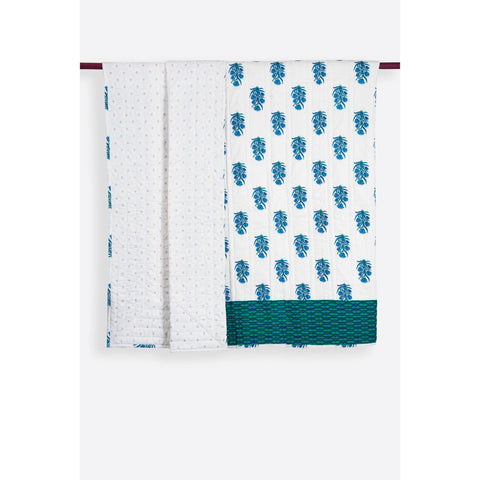 Zubeidah Tulip White and Seagreen Blockprint Reversible Cotton Quilt  - Melange Chic - 2