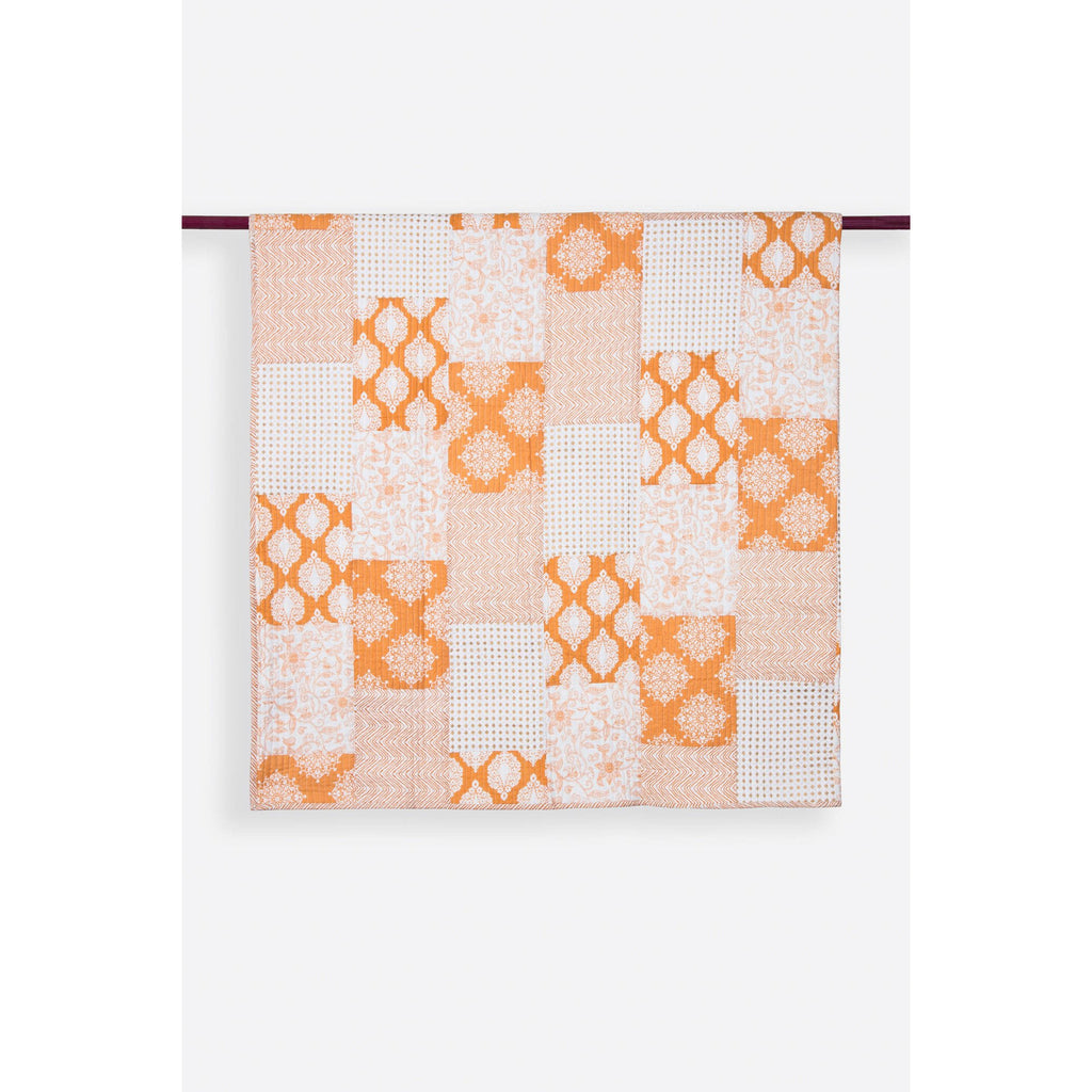 Nadia Cream & Ochre Patchwork Handprint Quilts  - Melange Chic - 1