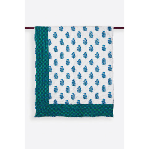 Zubeidah Tulip White and Seagreen Blockprint Reversible Handmade Cotton Quilt  - Melange Chic - 1