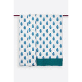 Zubeidah Tulip White and Seagreen Blockprint Reversible Handmade Cotton Quilt  - Melange Chic - 2