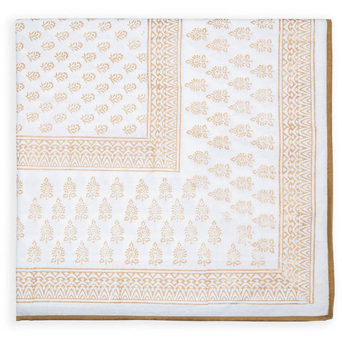 Blanc et Or  - White and Gold Blockprint Paisley Tablecloth  - Melange Chic - 3