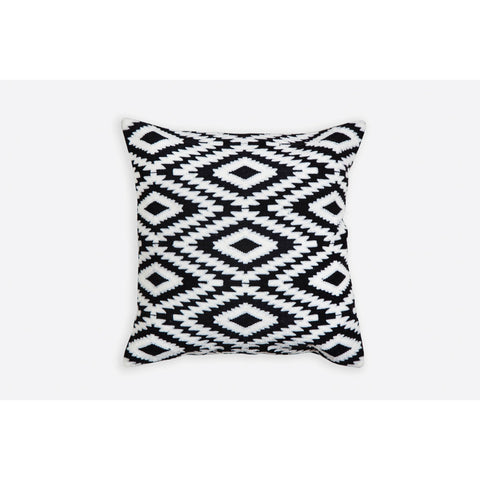 Ikat Pattern Black n White Embroidered Crewel Stitch Cushion 40 X 40 - Melange Chic - 3