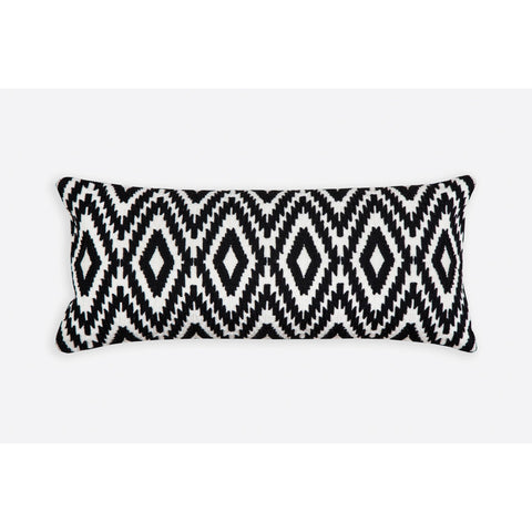 Ikat Pattern Black n White Embroidered Crewel Stitch Cushion 25 X 60 - Melange Chic - 4