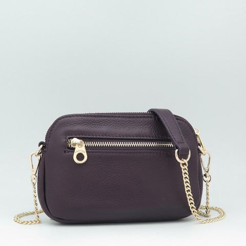 Pratten Plum Leather Sweetheart Bag
