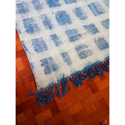 Indigo-White Blockprint Cotton Rugs