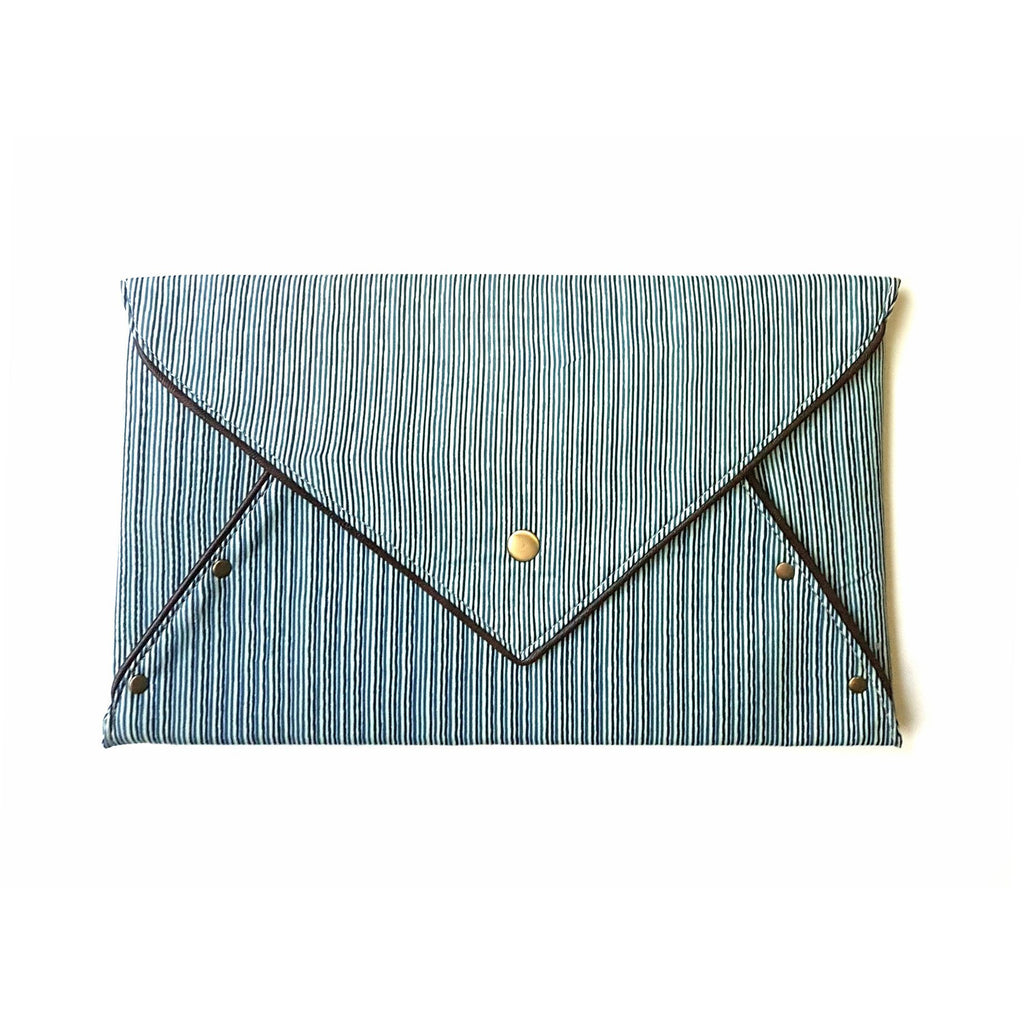 Cotton White Blue Envelope Clutch