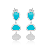Handcrafted Rodium Vermeil Blue Enamel Organic Shape Drop Earrings