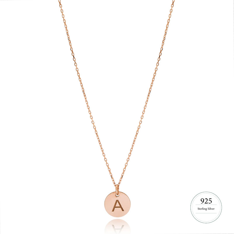 Simple Letter Necklace in Rose Gold