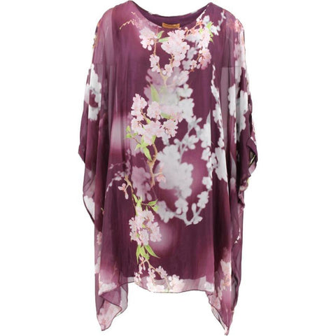 Wednesday Lulu - Cherry Blossom Long Silk Tunic