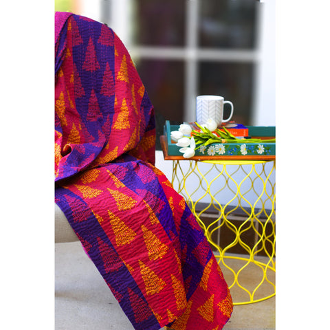 Stripe Blockprint Kantha Quilt / Throw / Tablecloth  - Melange Chic - 3