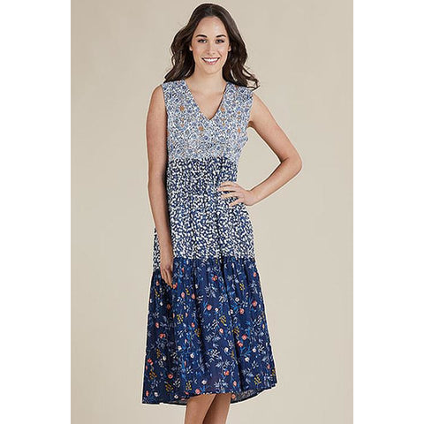 Threadz - Multi Floral Blue Dress