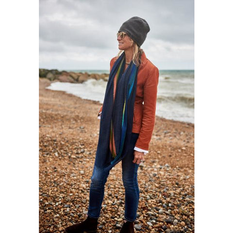 A Multi Color Fine Twill  Wool Scarf