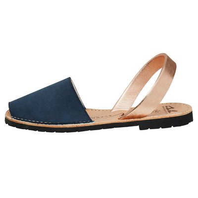 Avarcas -  Navy Nubuck & Rose Gold Metallic