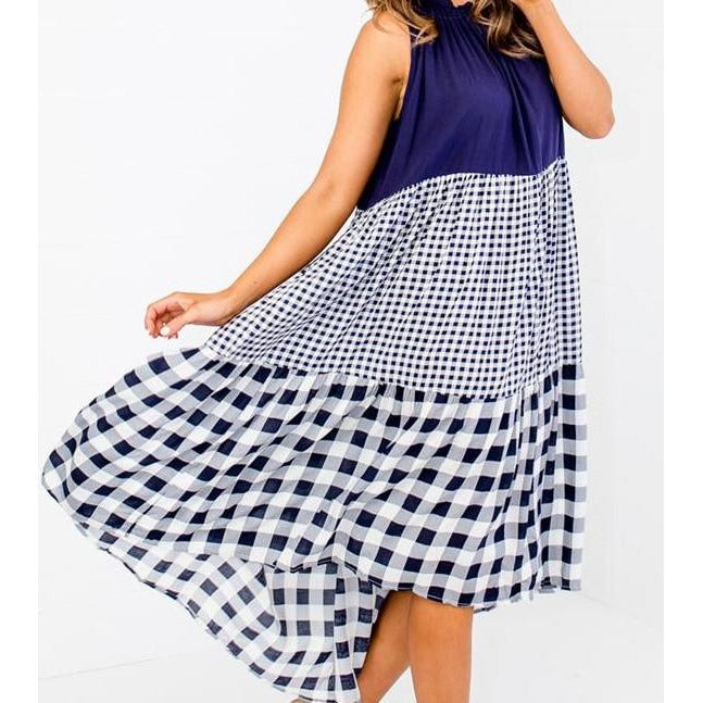 LOL - Navy White Checked Dress
