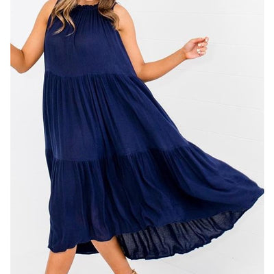 LOL - Navy Tiered Dress