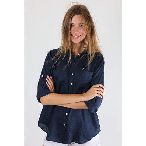 Hut - Navy Linen Boyfriend Shirt