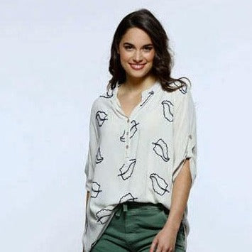 Leaf Print Nehru Top