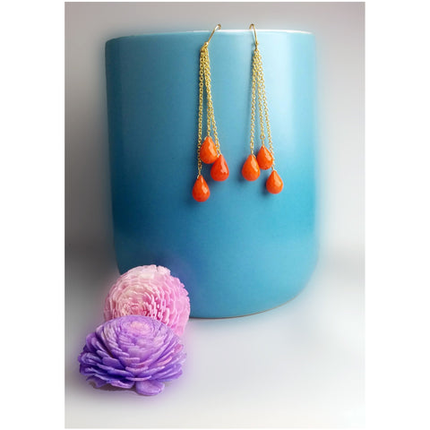 Amaya - Gold Vermeil Teardrop Orange Chalcedony Earrings  - Melange Chic