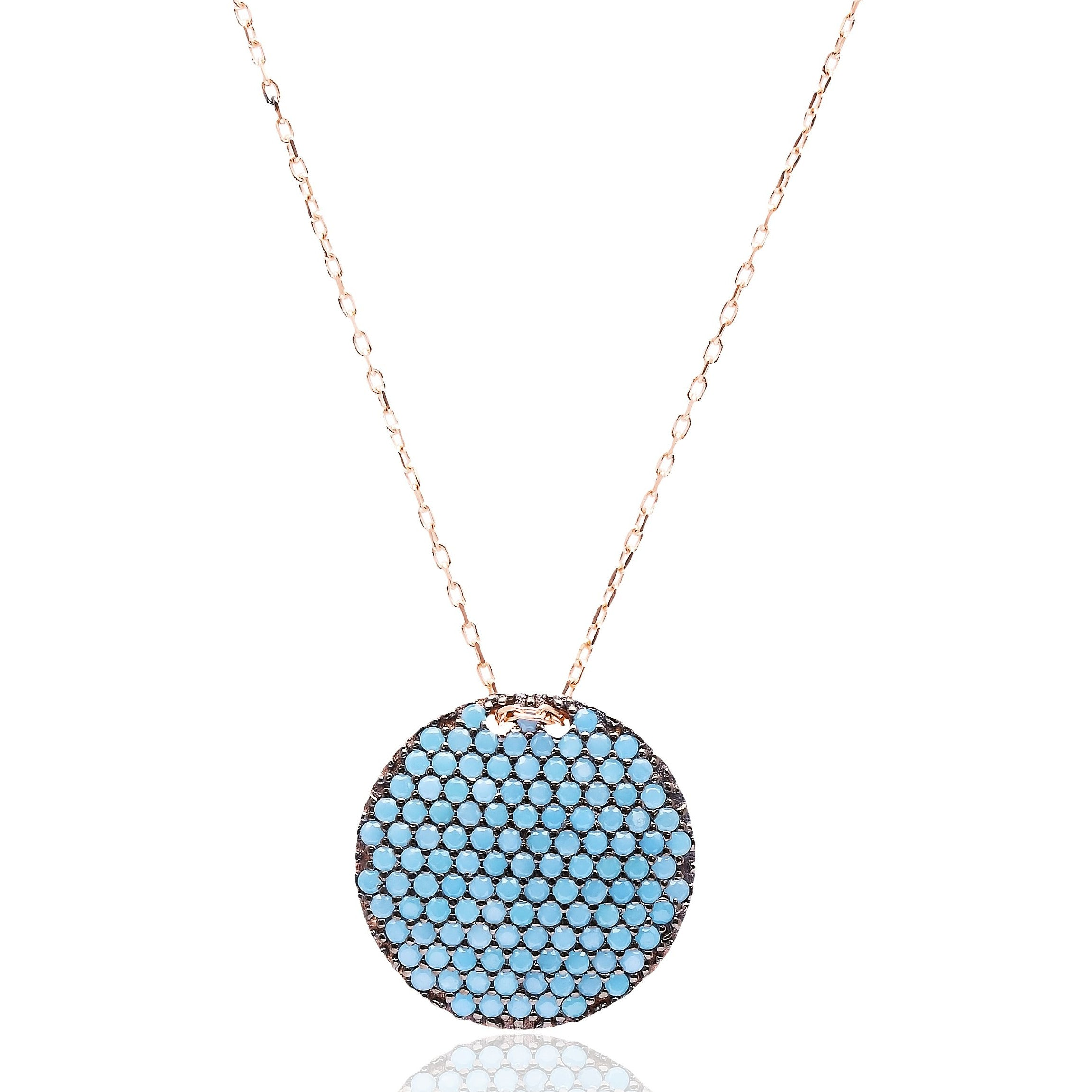 Round Lapis Pave Set Necklace in Rose Gold