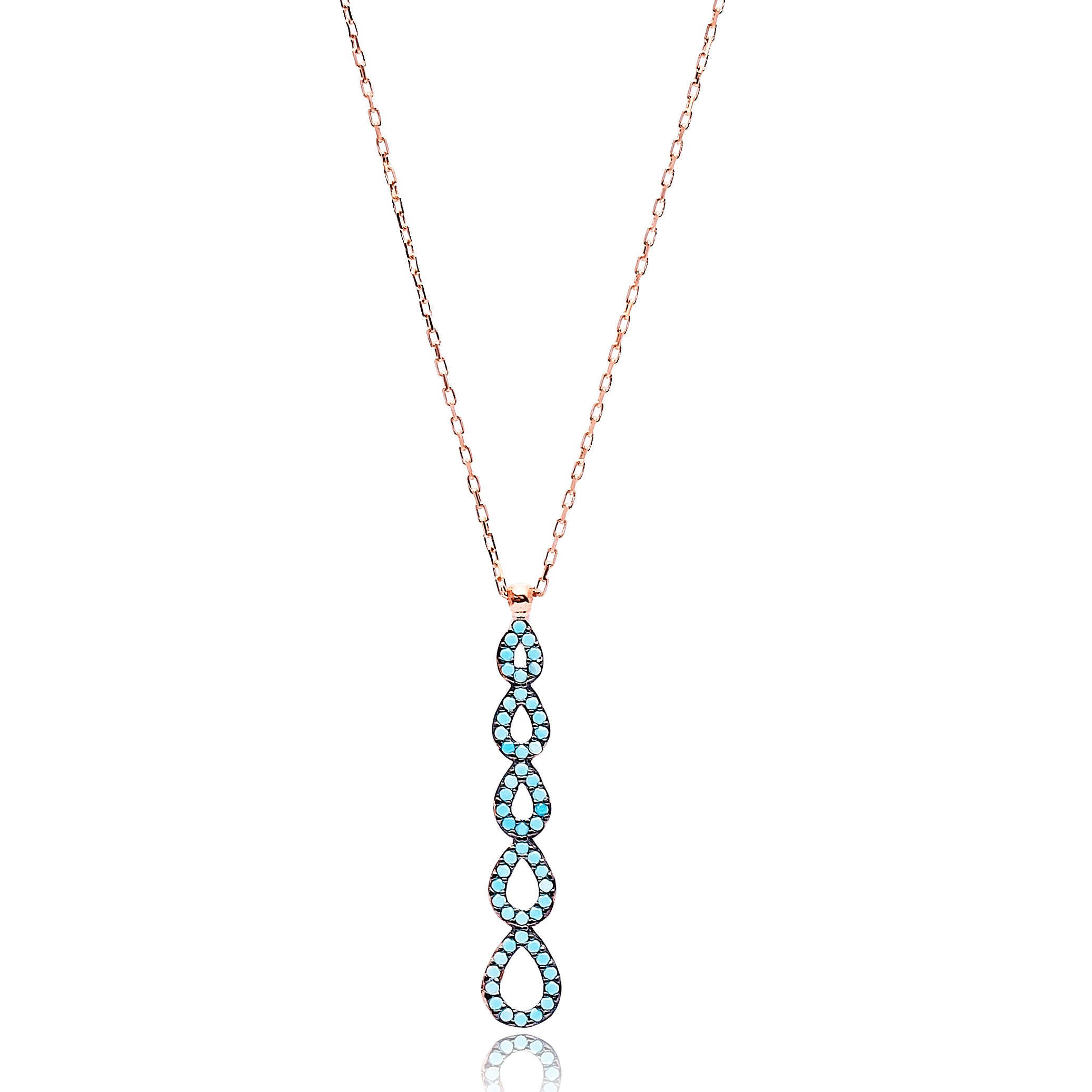 Open Multi Droplet Lapis Pave Set Necklace in Rose Gold
