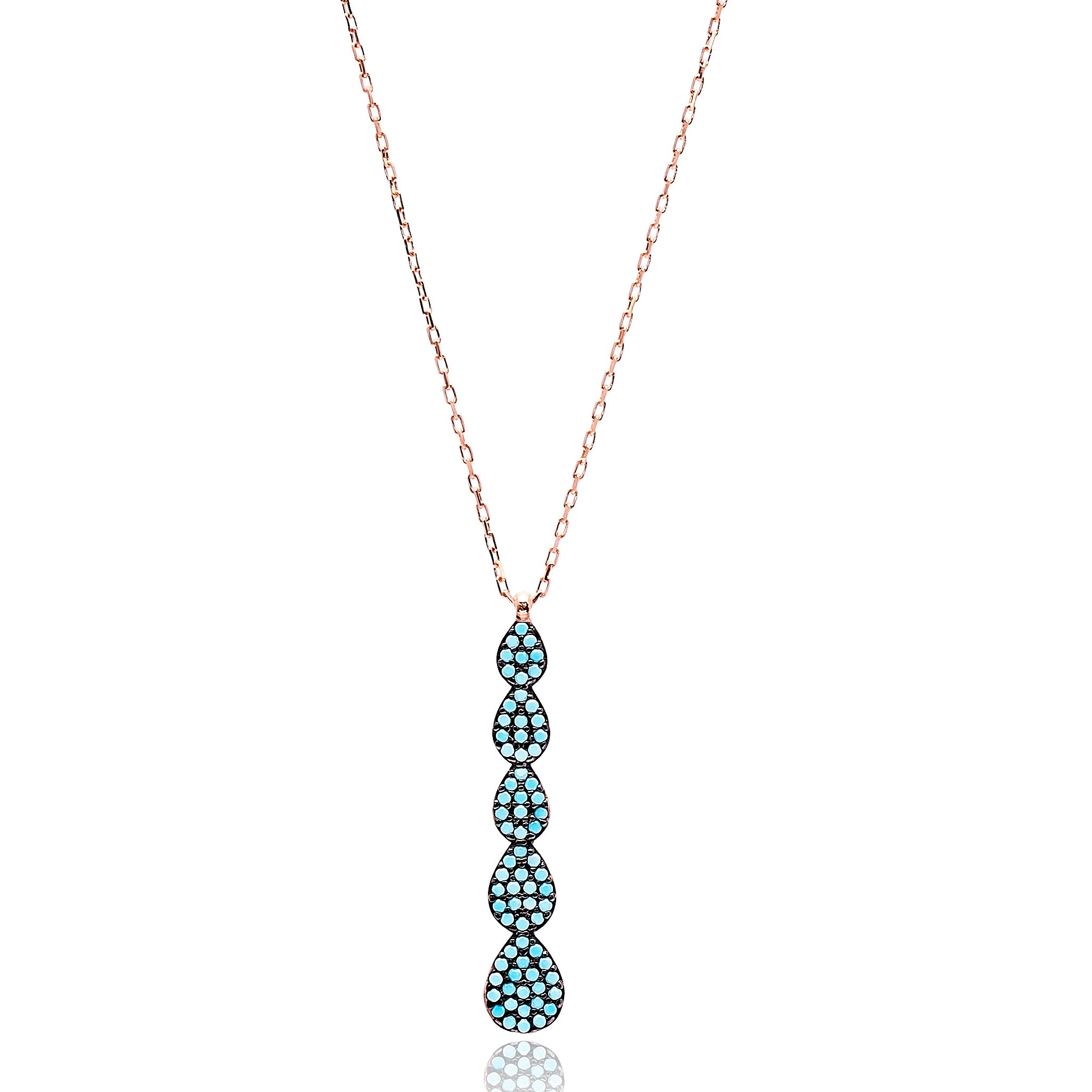 Multi Droplet Lapis Pave Set Necklace in Rose Gold