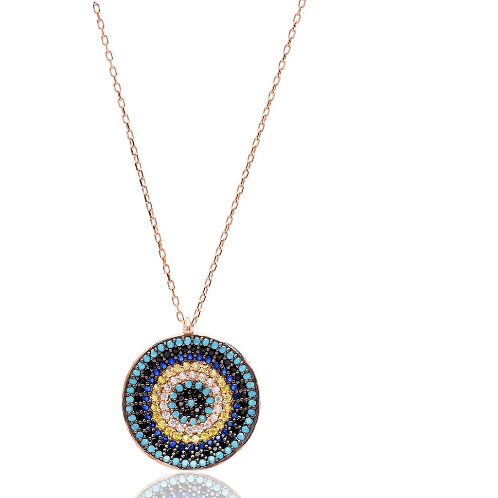 Raised circular Multi Stone Lapis pave set Necklace in Rose Gold