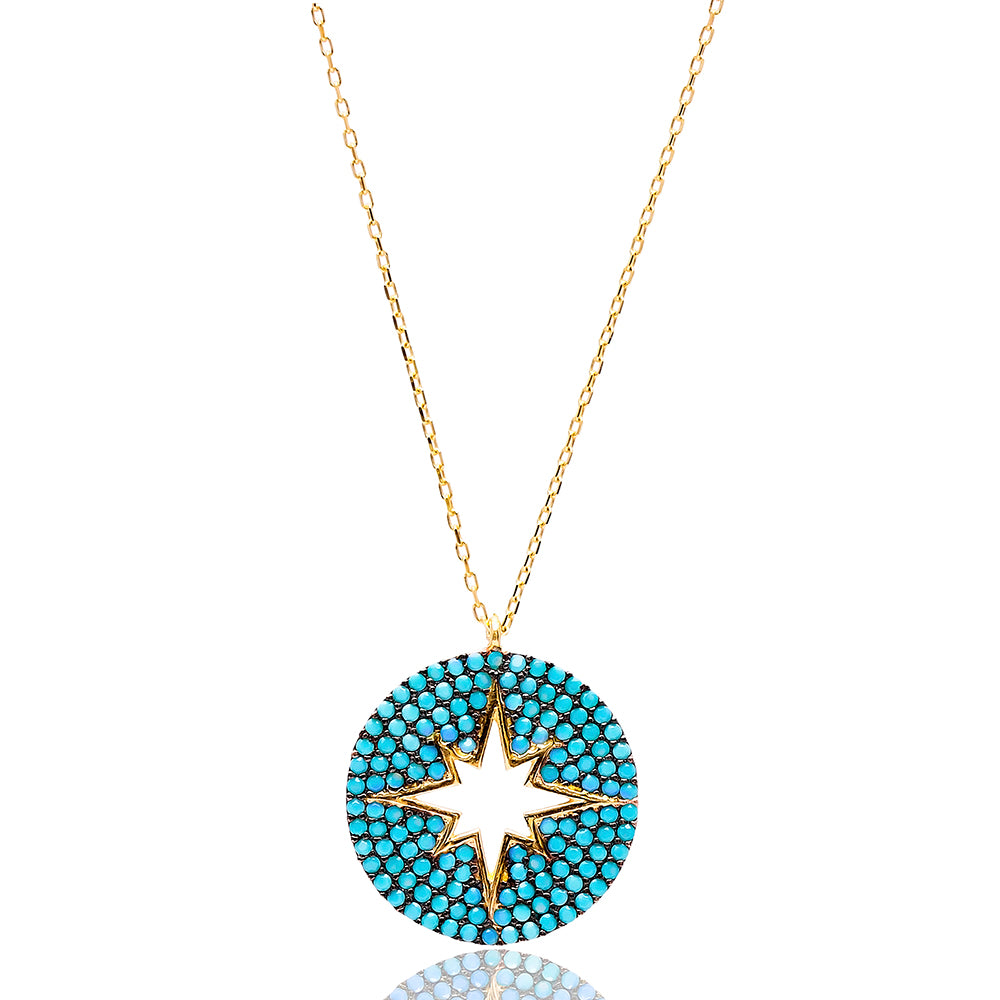 North Star Lapis Pave Set Necklace in Gold