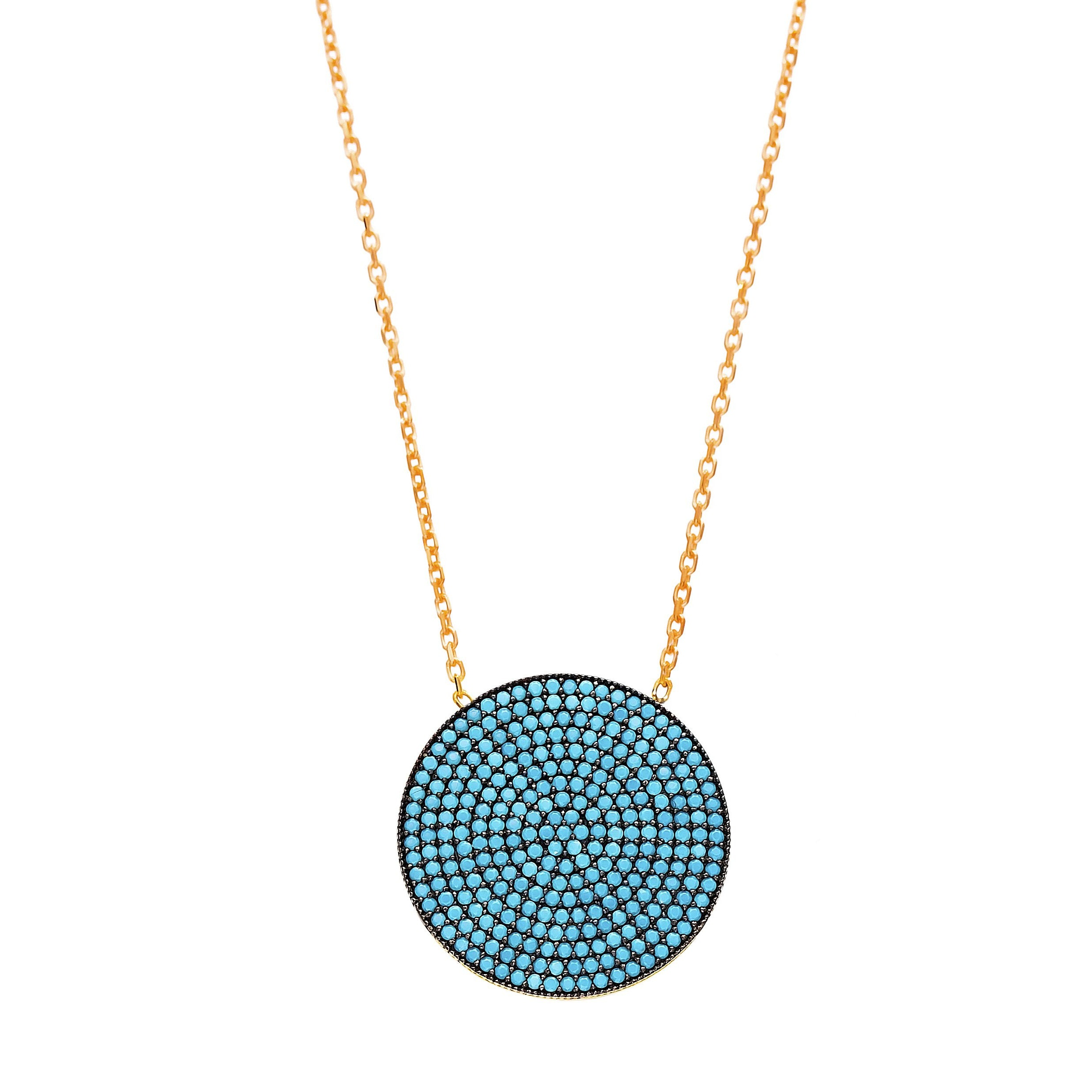 Round Lapis Pave Set Necklace in Gold