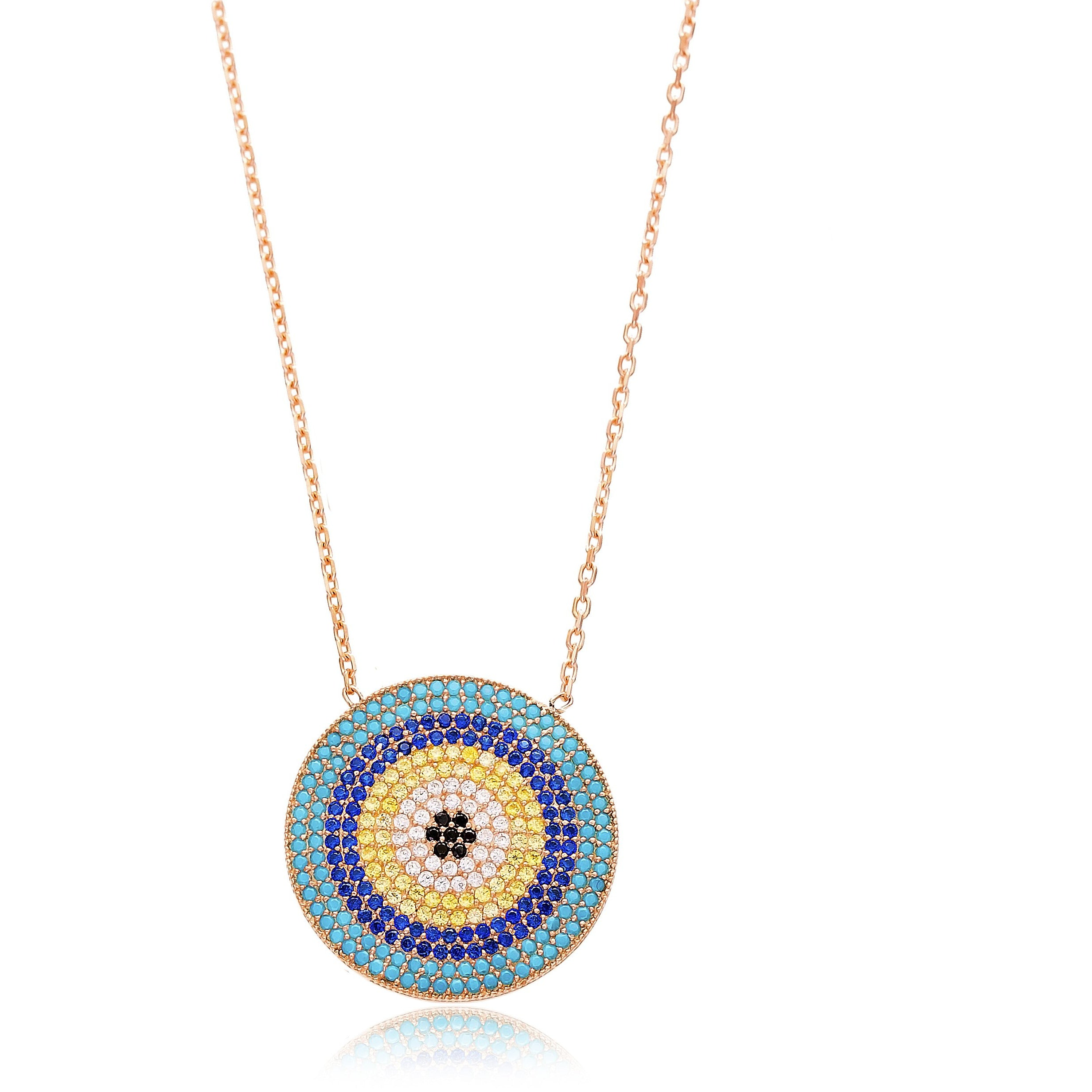 Large Round Multi Stone Lapis pave set Necklace in Rose Gold