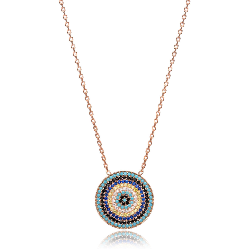 Small Round Multi Stone Lapis pave set Necklace in Rose Gold