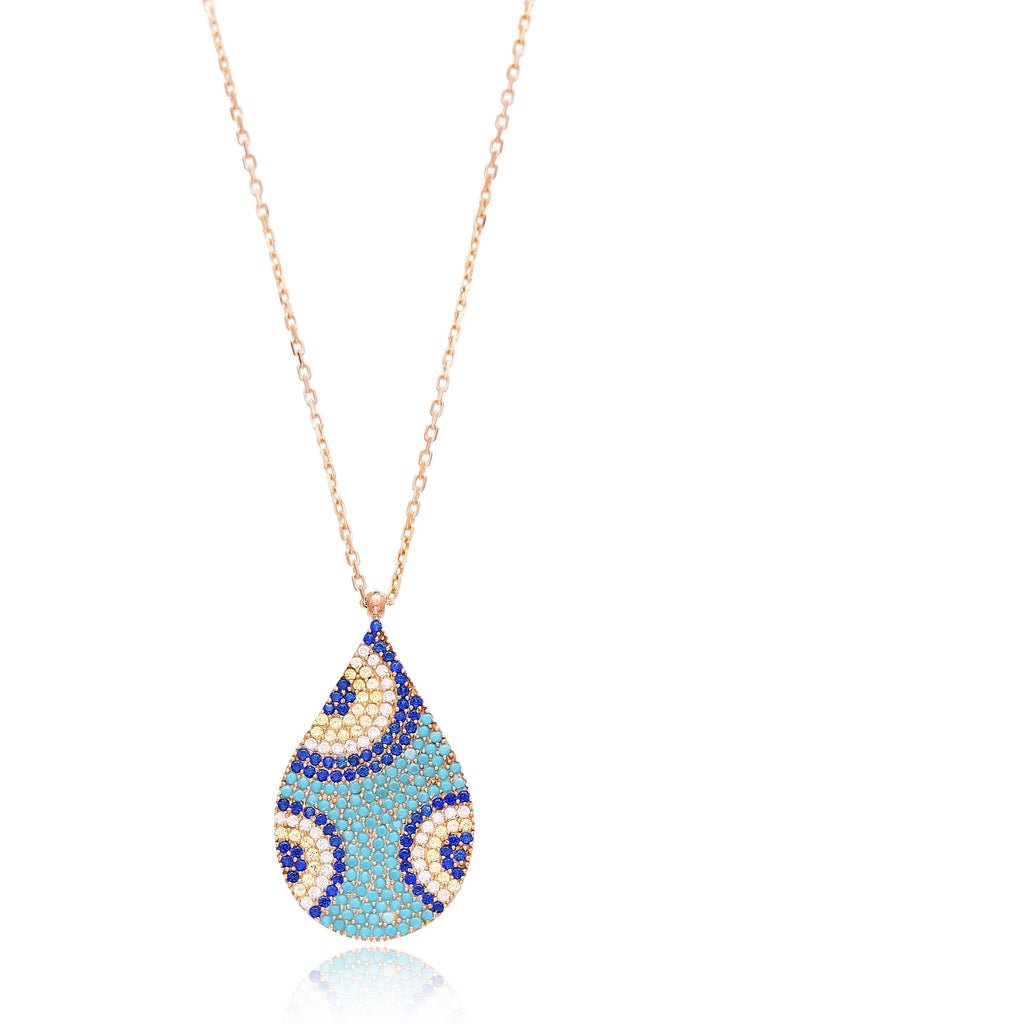 Droplet Circles Blue Multi Stone Lapis pave set Necklace in Rose Gold