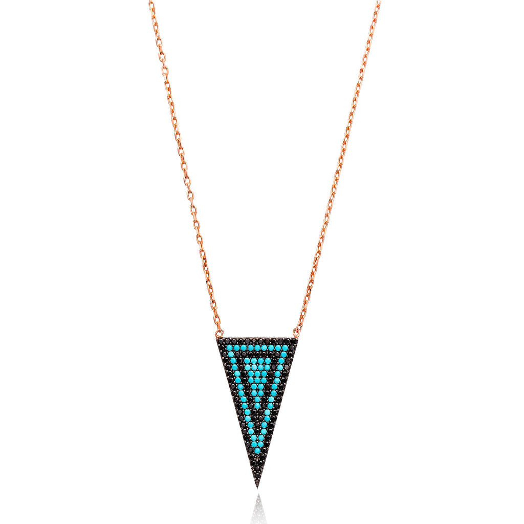 Triangle Multi Stone Lapis pave set Necklace in Rose Gold
