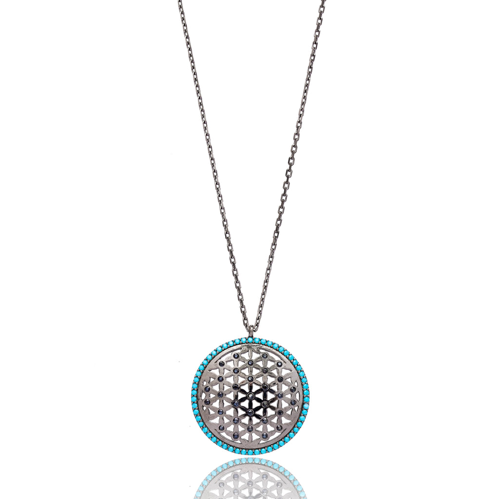 Round Net Lapis pave set Necklace in Silver