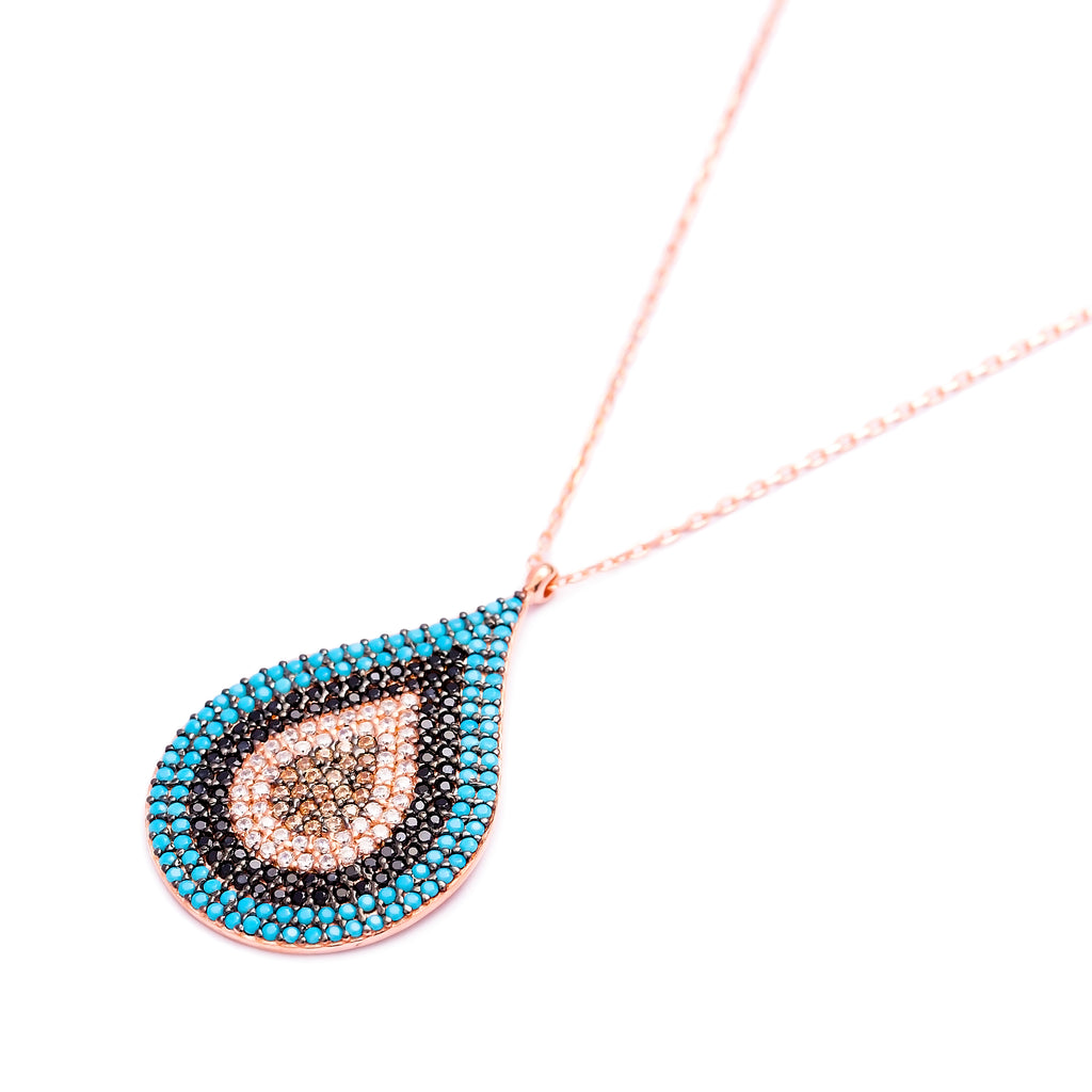 Teardrop Multi Stone Lapis pave set Necklace in Rose Gold