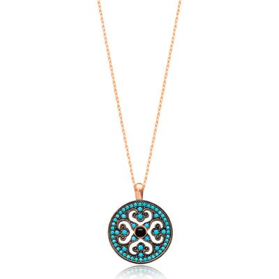 Ornate Lapis pave set Necklace in Rose Gold