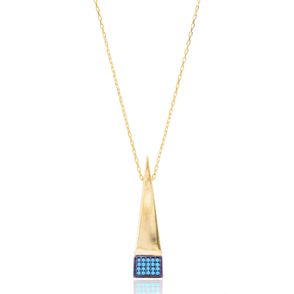 Pyramid Lapis pave set Necklace in Gold
