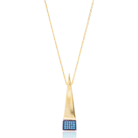 Pyramid shape gold lapis pave set necklace