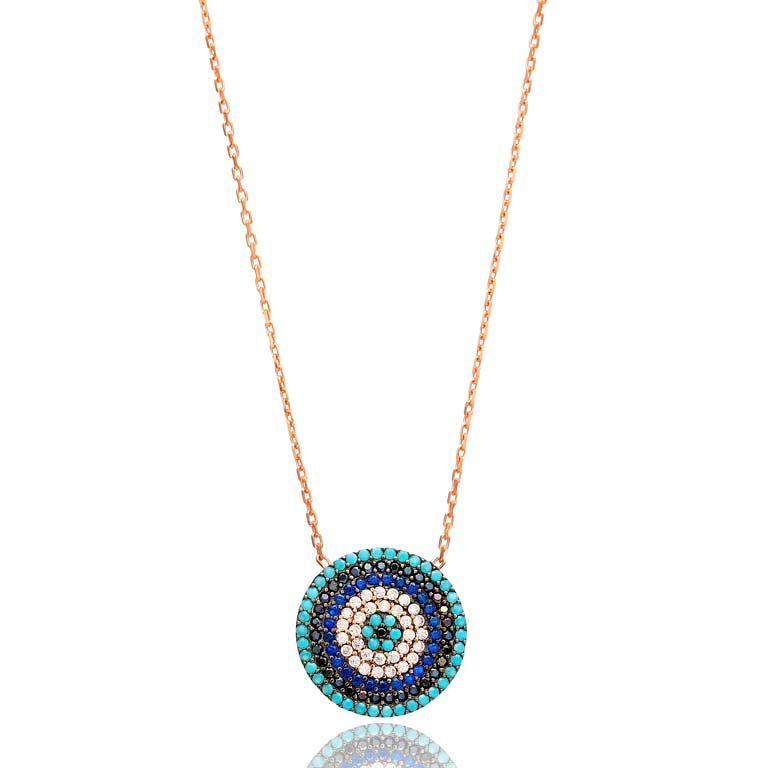 Small Round Blue/Black Stone Lapis pave set Necklace in Rose Gold