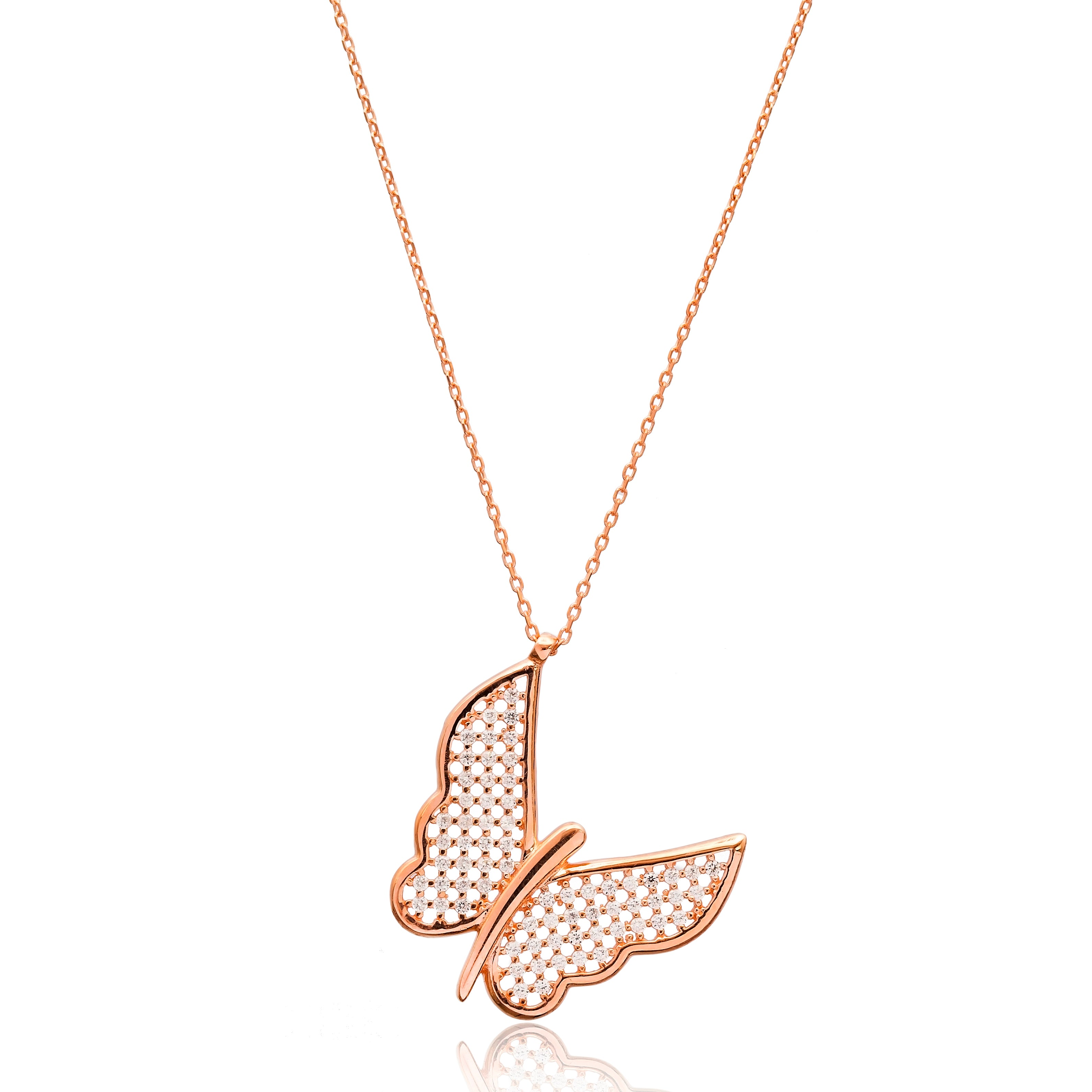 Cubic Zarconia Butterfly Pendant in Rose Gold