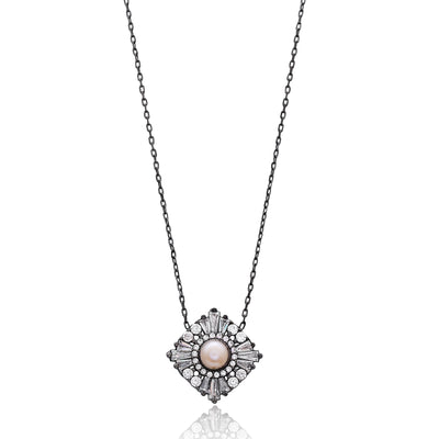 Cubic Zarconia Ornate Pearl Pendant in Oxidised Silver