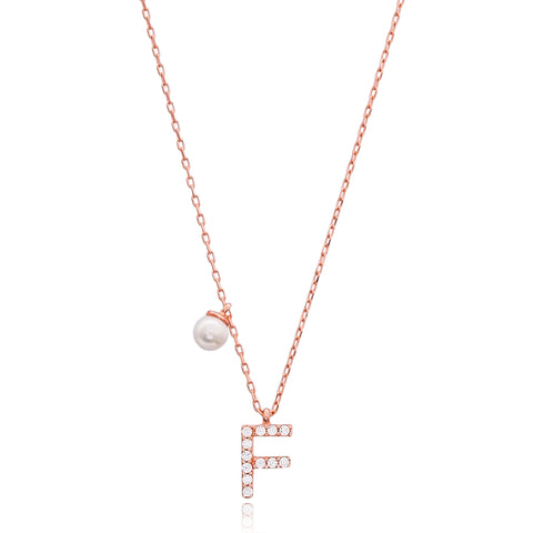 Cubic Zarconia Letter Necklace with Pearl Detail in Rose Gold