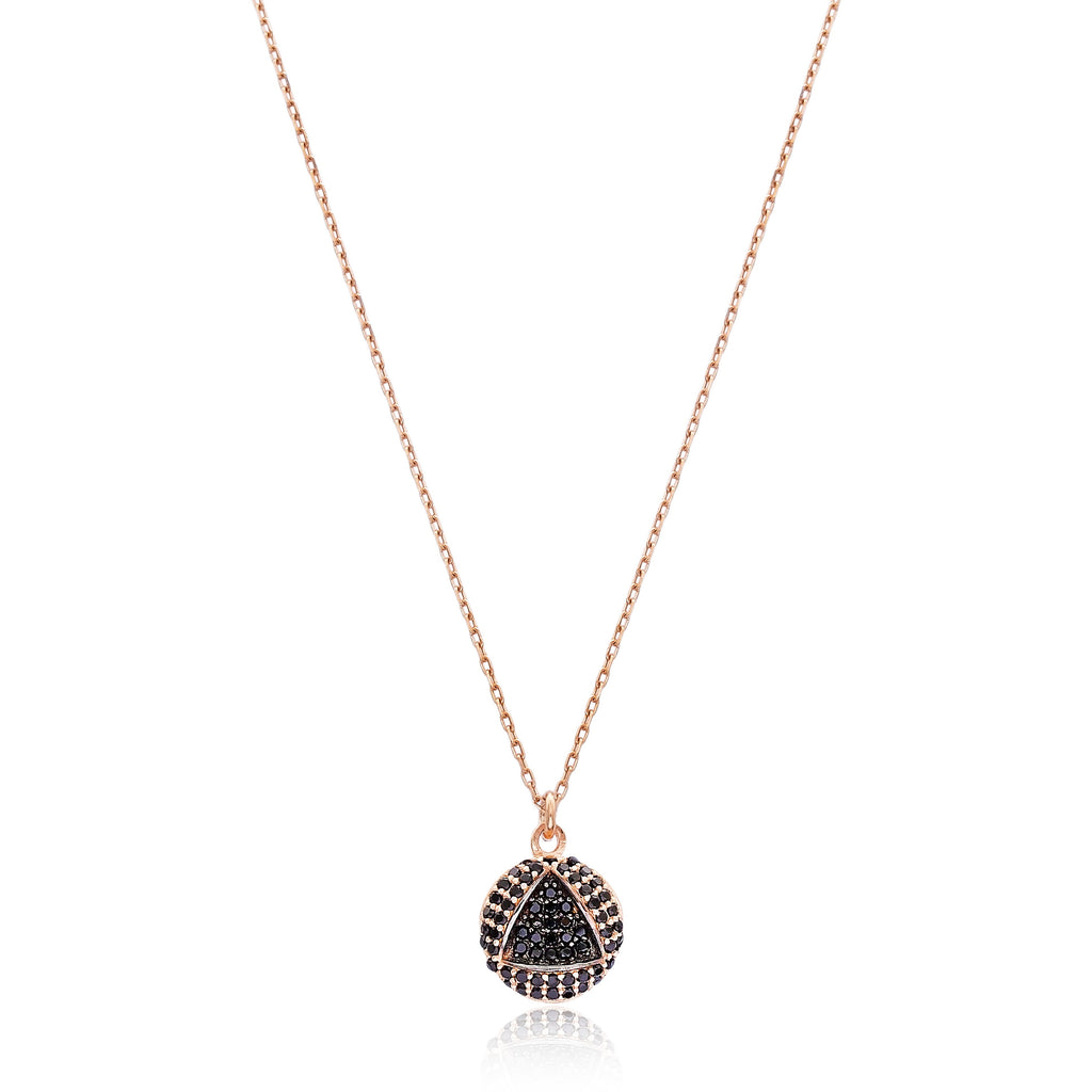 Round Indent Pendant Lapis pave set Necklace in Rose Gold