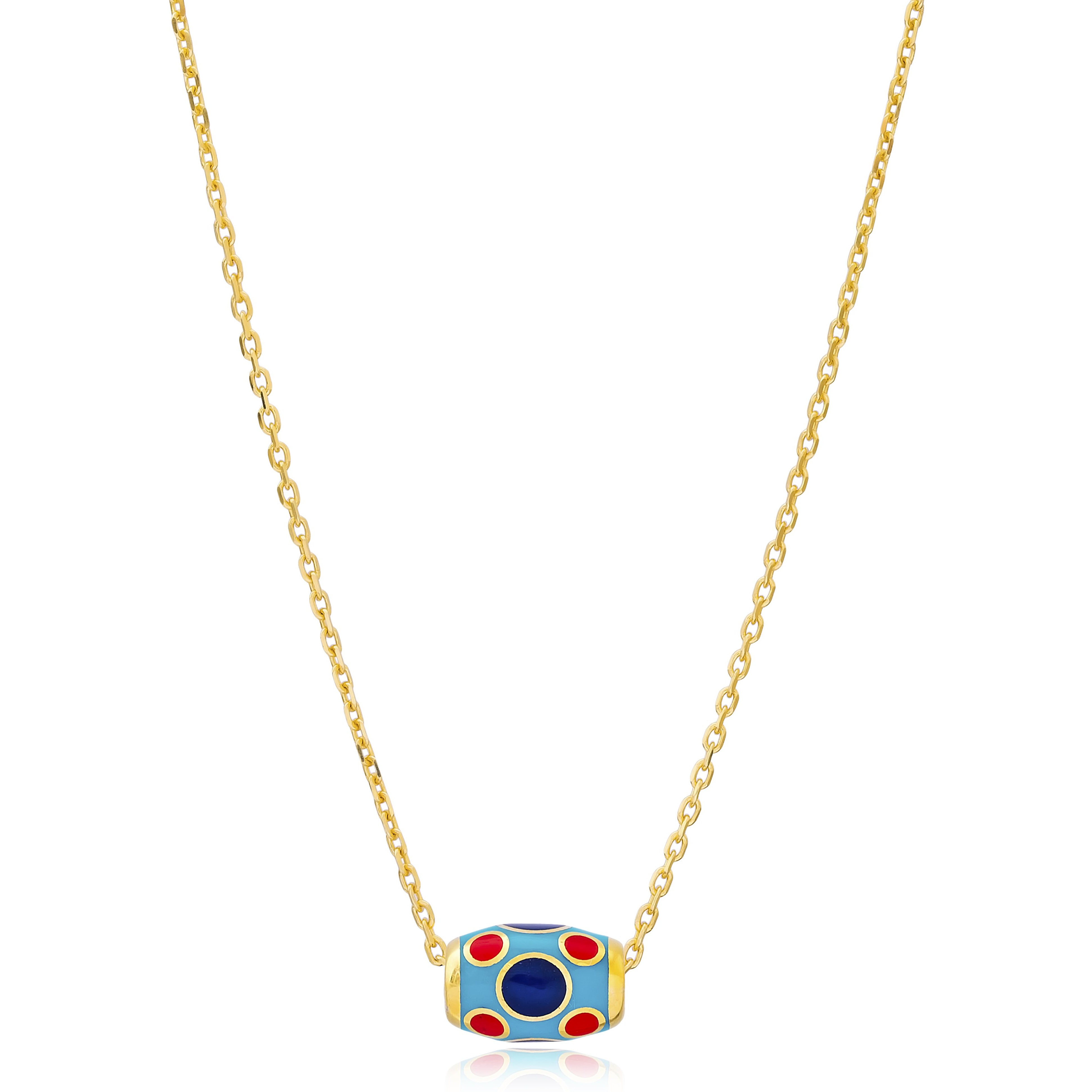 Barrel Blue Enamel Bead Necklace in Gold Finish