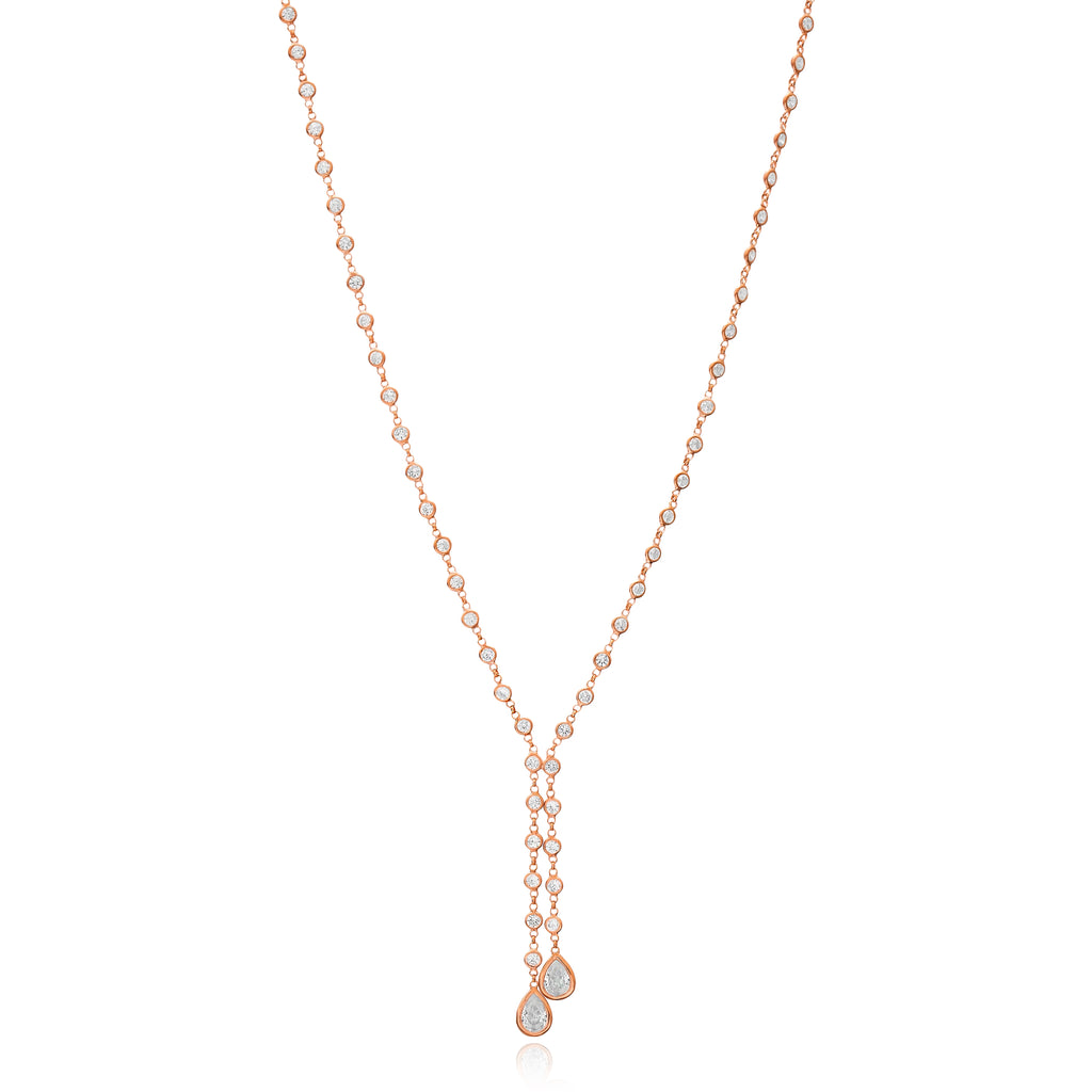 Cubic Zarconia Wrap Necklace in Rose Gold