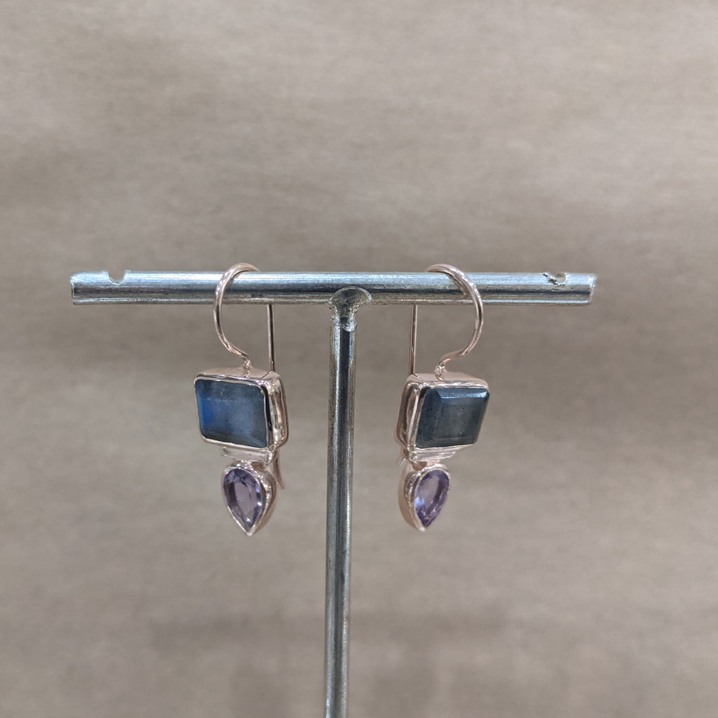 Melange labradorite and amethyst earrings