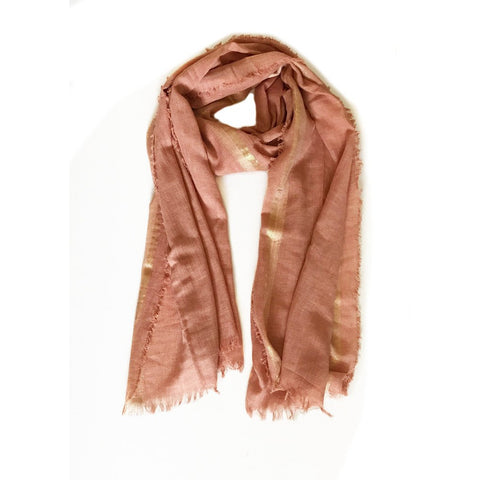 Peach with Gold trim Lightweight Scarf